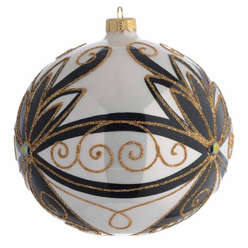 Christmas Bauble shiny black and gold with flowers 15cm 2