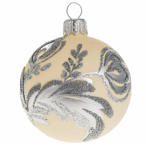 Christmas bauble, silver and ivory glass 6cm s1