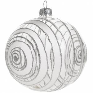 Christmas balls: Christmas bauble, silver and transparent glass 10cm