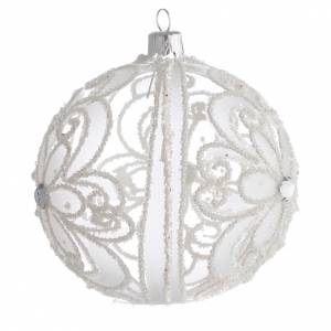 Christmas Bauble transparent and white 10cm s2