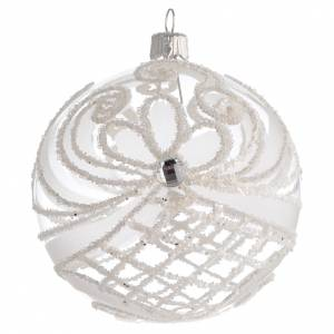 Christmas balls: Christmas Bauble transparent and white 10cm