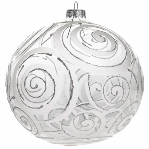 Christmas bauble, transparent glass and decorations, 15cm s1