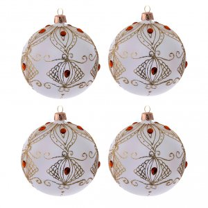 Christmas balls: Christmas baubles champagne colour with stones 100 mm 4 pieces