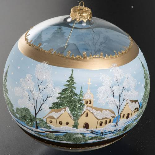 Christmas blown glass bauble with paysage 10cm s3