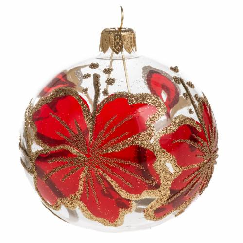 Christmas blown glass golden hand painted ball ornament 8cm s1