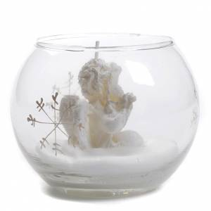 Christmas candle & Angel in glass ball s2