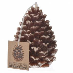 Christmas candle, pine cone with glitter s1