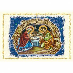 Greeting cards: Christmas card with birth of Jesus, landscape