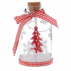 Christmas tree ornaments in wood and pvc: Christmas decoration, bottle with tree in glass, 10cm