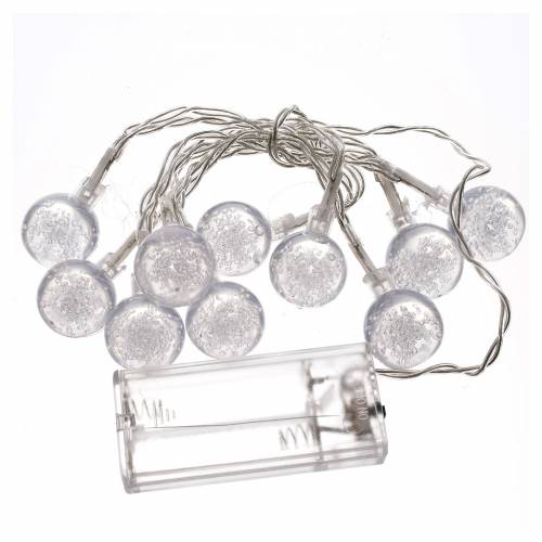 Christmas lights, 10 baubles warm white s3