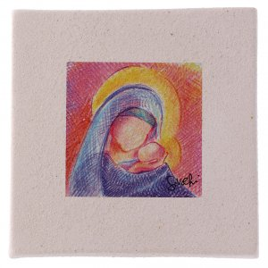Christmas home decorations: Christmas miniature Mary with Jesus in clay 10X10 cm