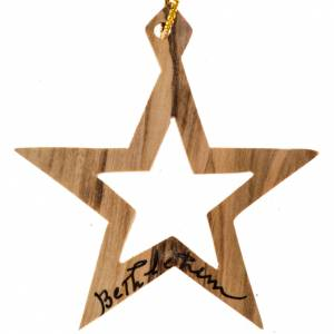 Christmas tree ornaments in wood and pvc: Christmas star ornament Bethlehem Holy Land olive wood
