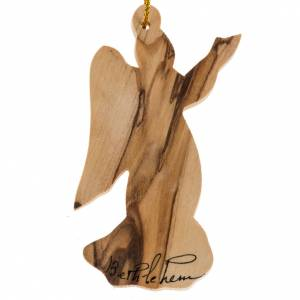 Christmas tree ornaments in wood and pvc: Christmas tree angel decoration Holy Land olive wood.