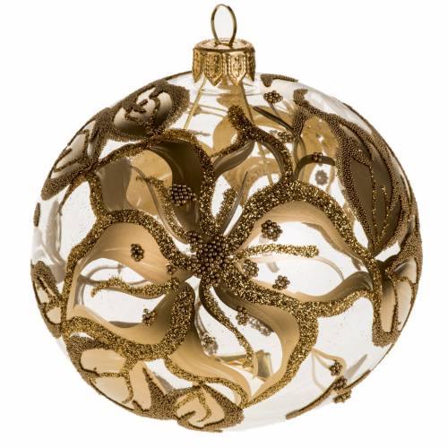Christmas tree bauble, blown glass golden decorations 10cm s1
