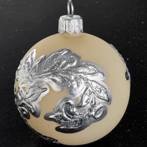 Christmas balls: Christmas tree bauble in blown glass, ivory with silver 6cm