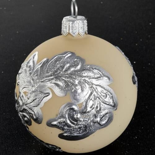 Christmas tree bauble in blown glass, ivory with silver 6cm s2