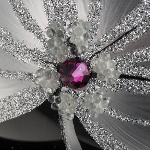 Christmas tree baubles glass black silver flowers, 15cm s3