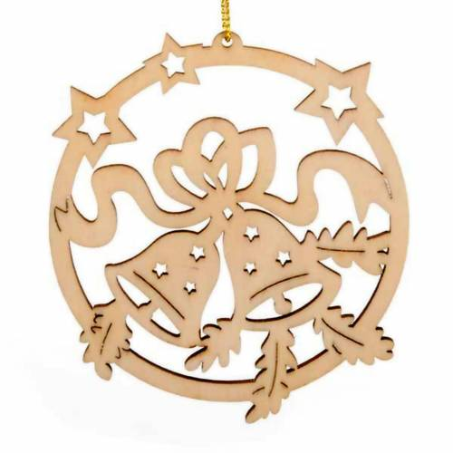 Christmas tree decoration, circle with stars and bells s1