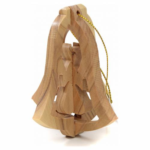 Christmas tree decoration in Holy Land olive wood, bell and ange s2