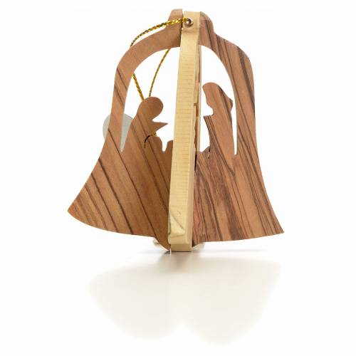 Christmas tree decoration in Holy Land olive wood bell with Wise s1