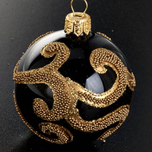 Christmas tree glass bauble, black and gold decorations 6cm s2
