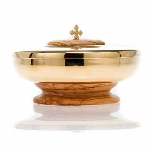 Ciboire,bois d'olivier, petite taille, diamètre 11cm s3