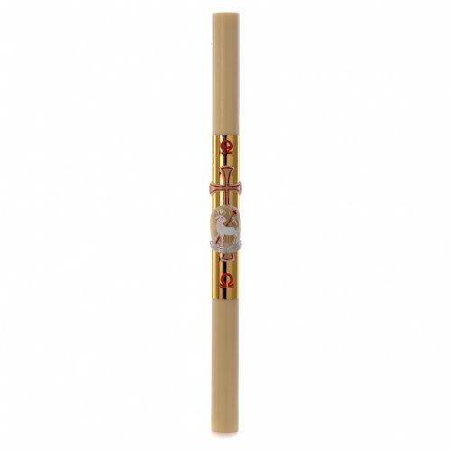 Cierge pascal cire abeilles RENFORT Agneau croix fond or 8x120cm s3