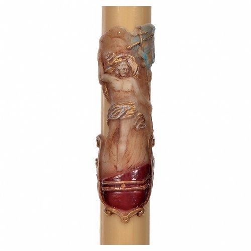Cierge Pascal cire abeilles RENFORT Christ Ressuscité 8x120cm s2