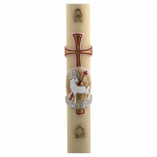 Cierge Pascal cire d'abeille agneau or et rouge croix 8x120 cm s1