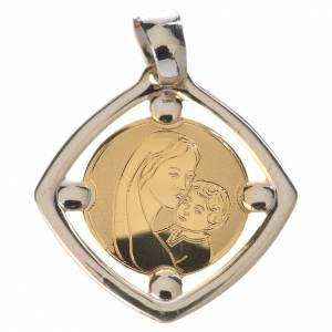 Pendenti, croci, spille, catenelle: Ciondolo bicolore Madonna con bambino oro 750/00 - gr. 1,23