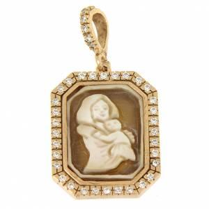 Pendenti, croci, spille, catenelle: Ciondolo Madonna di Ferruzzi in cammeo e zirconi bianchi argento 925