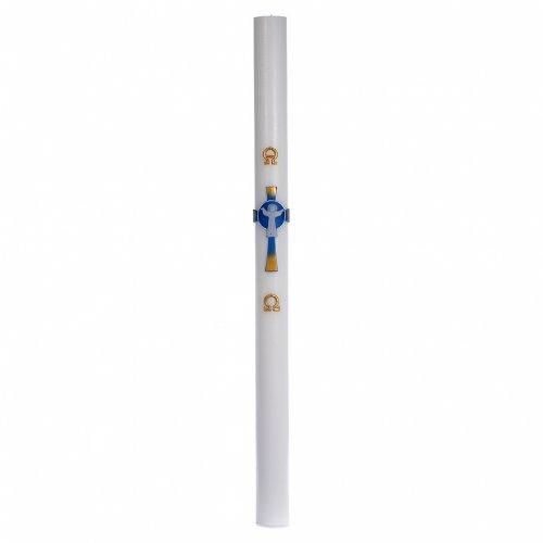 Cirio Pascual cera blanca Cruz Jesucristo Resucitado 8x120 cm s3