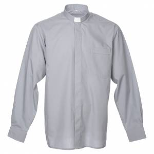 Clergy Shirts: STOCK Clergy shirt in light grey mixed cotton, long sleeves