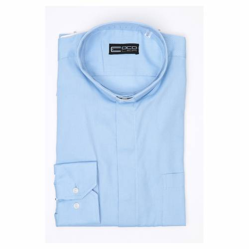 Clergy shirt Long sleeves easy-iron mixed cotton Light Blue 3