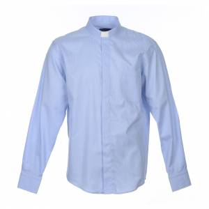 Clergy Shirts: Clergy shirt long sleeves Prestige Line mixed cotton Light Blue