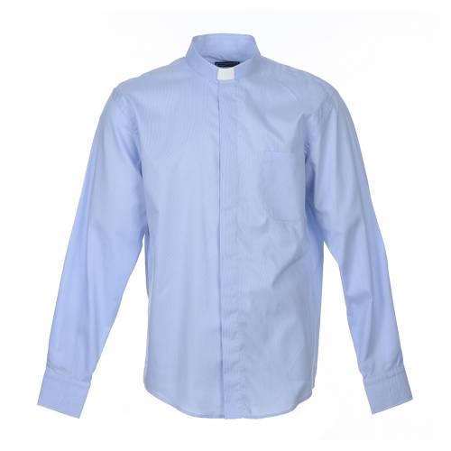 Clergy shirt long sleeves Prestige Line mixed cotton Light Blue s1