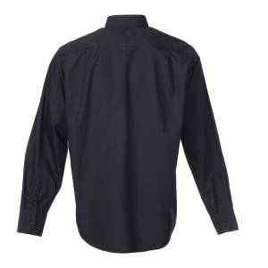 Clergy Shirts: Clergy shirt long sleeves solid colour mixed cotton Black