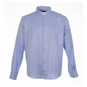 Clergy shirt sky blue jacquard long sleeve s1