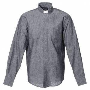 Clergy Shirts: Clergy shirt with long sleeves in grey linen and cotton