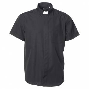 Clergy Shirts: Clergy shirt with short sleeves in black cotton and polyester