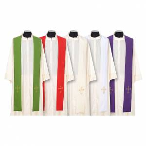 Stoles: Clergy Stole simple embroidery double-sided Vatican fabric