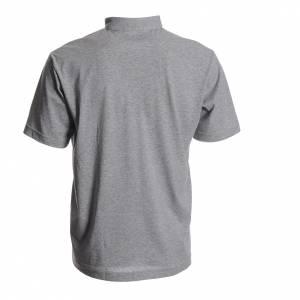 Clergy polo shirts: Clergyman polo shirt in grey, 100% cotton
