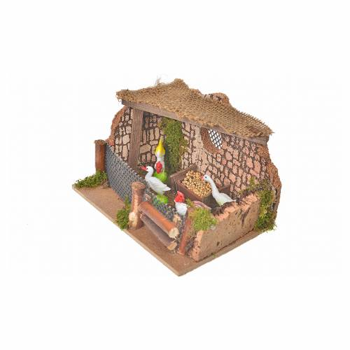 Clôture avec coq et poules 11x15x10cm s3