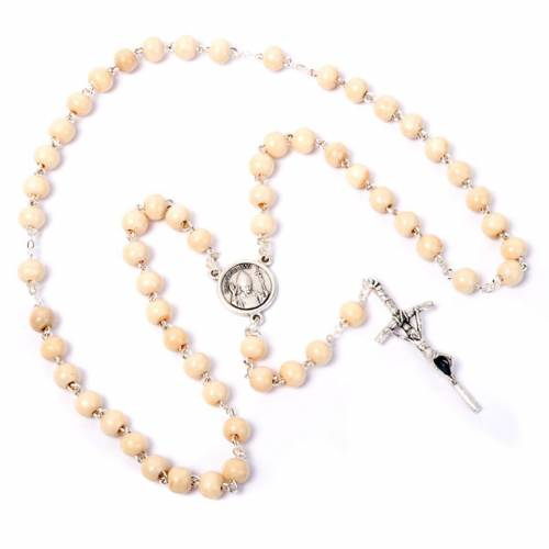 Coconnut-effect rosary with round beads s4