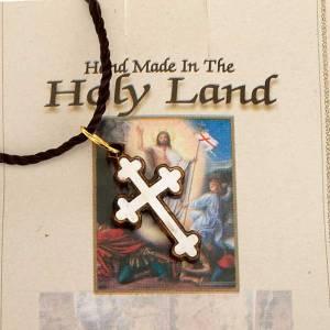 Colgante cruz trilobulada madera Tierra Santa con nácar s3