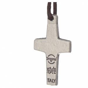 Pendenti croce metallo: Collana Croce Papa Francesco metallo 2x1,4 cm con corda