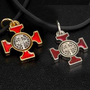 Collana croce San Benedetto celtica rossa 2.5x2x5 s5