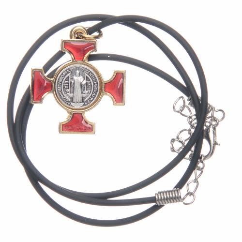Collana croce San Benedetto celtica rossa 2.5x2x5 s3