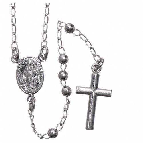 Collana rosario AMEN classico 3 mm arg 925 fin. Rodio s1