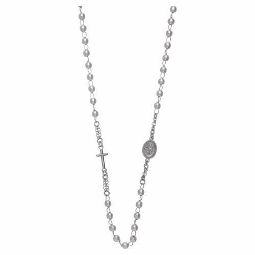 Collana rosario girocollo AMEN pavè perle arg. 925 fin. Rodio s2